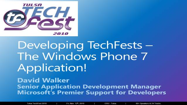 Developing TechFests - The Windows Phone 7 Application!