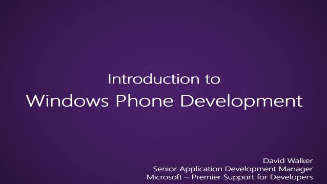 Introduction to Windows Phone Development